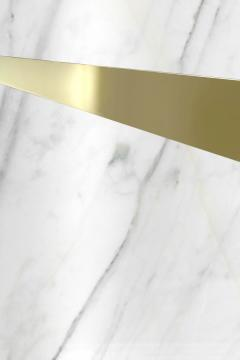 Barberini Gunnell Coffee table in polished brass gold chrome effect top in white marble Italy - 1449429