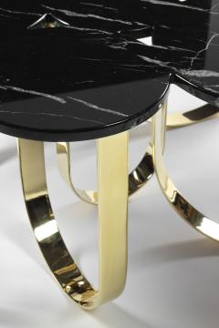 Barberini Gunnell Coffee table or center table in black Marquinia marble and polished brass Italy - 1441967