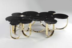Barberini Gunnell Coffee table or center table in black Marquinia marble and polished brass Italy - 1441968