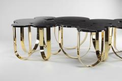Barberini Gunnell Coffee table or center table in black Marquinia marble and polished brass Italy - 1441969