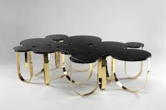 Barberini Gunnell Coffee table or center table in black Marquinia marble and polished brass Italy - 1441970