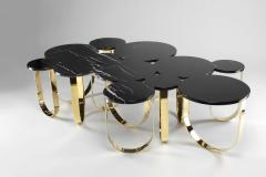 Barberini Gunnell Coffee table or center table in black Marquinia marble and polished brass Italy - 1441971
