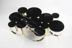 Barberini Gunnell Coffee table or center table in black Marquinia marble and polished brass Italy - 1441974