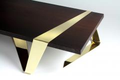 Barberini Gunnell Coffee table or center table top in solid Weng and polished brass Italy - 1442065