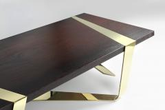 Barberini Gunnell Coffee table or center table top in solid Weng and polished brass Italy - 1442067