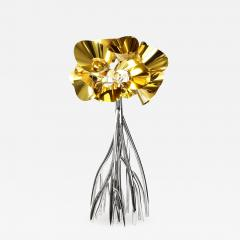 Barberini Gunnell Floor lamp in polished stainless steel chrome effect golden lampshade - 1456136