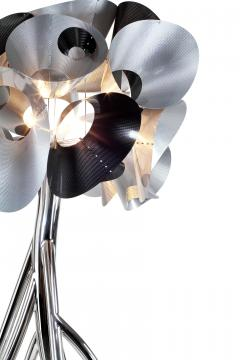 Barberini Gunnell Floor lamp in polished stainless steel chrome effect lampshade in carbon fiber - 1449125