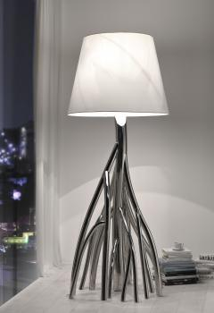 Barberini Gunnell Floor lamp in polished stainless steel chrome effect lampshade in white linen - 1449139