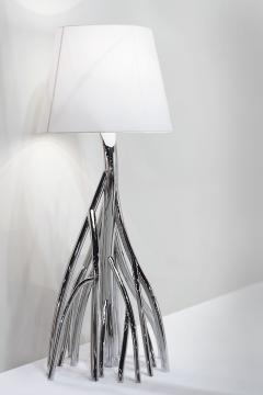 Barberini Gunnell Floor lamp in polished stainless steel chrome effect lampshade in white linen - 1449140