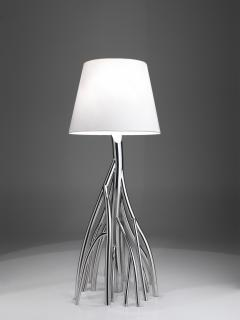 Barberini Gunnell Floor lamp in polished stainless steel chrome effect lampshade in white linen - 1449141
