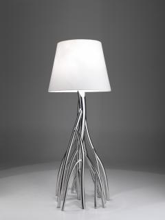 Barberini Gunnell Floor lamp in polished stainless steel chrome effect lampshade in white linen - 1449142