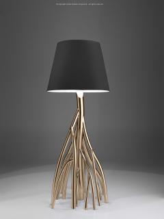 Barberini Gunnell Floor lamp in polished stainless steel rose gold chrome black linen lampshade - 1449148