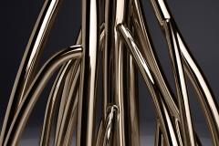 Barberini Gunnell Floor lamp in polished stainless steel rose gold chrome black linen lampshade - 1449149