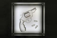 Barberini Gunnell Lamp in acrylic trasparent glass black leather base gun engraved inside - 1449197