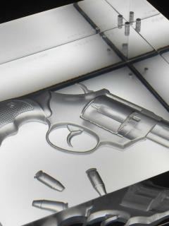 Barberini Gunnell Lamp in acrylic trasparent glass black leather base gun engraved inside - 1449200