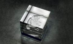 Barberini Gunnell Lamp in acrylic trasparent glass black leather base gun engraved inside - 1449201