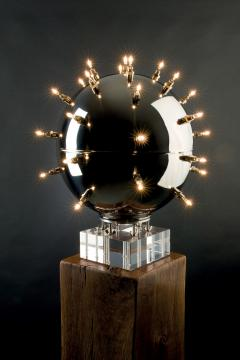 Barberini Gunnell Lamp in polished stainless steel chrome effect sphere table lamp Italy - 1449152