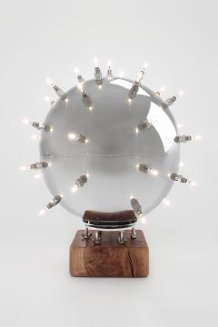 Barberini Gunnell Lamp in polished stainless steel chrome effect sphere table lamp Italy - 1449153