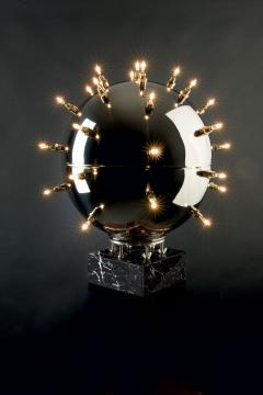 Barberini Gunnell Lamp in polished stainless steel chrome effect sphere table lamp Italy - 1449158