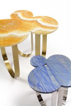 Barberini Gunnell Side table in Azul Macaubas quartzite and structure in polished stainless steel - 1698218