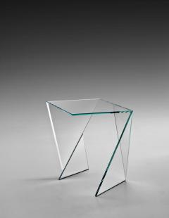 Barberini Gunnell Side table or bedside in clear crystal glass square made in Italy - 1440732