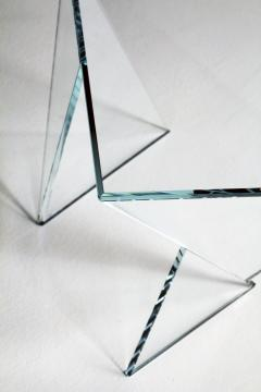 Barberini Gunnell Side table or bedside in clear crystal glass square made in Italy - 1440734