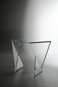 Barberini Gunnell Side table or bedside in clear crystal glass square made in Italy - 1440792