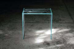 Barberini Gunnell Side table or bedside in clear glass engraved pattern made in Italy - 1449721