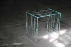 Barberini Gunnell Side table or bedside in clear glass engraved pattern made in Italy - 1449727