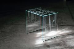 Barberini Gunnell Side table or bedside in clear glass engraved pattern made in Italy - 1449730