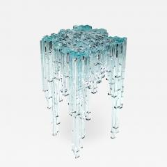 Barberini Gunnell Side table or bedside square top clear crystal glass sculpture made in Italy - 1444435
