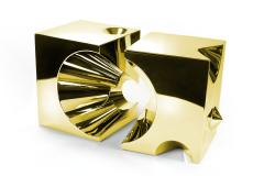 Barberini Gunnell Side table or stool square cubic in stainless steel gold chrome effect - 1449081