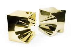 Barberini Gunnell Side table or stool square cubic in stainless steel gold chrome effect - 1449083