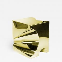 Barberini Gunnell Side table or stool square cubic in stainless steel gold chrome effect - 1456137