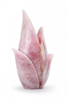 Barberini Gunnell Vase sculpture hand carved from a solid block of Rose Quartz made in Italy - 1637261