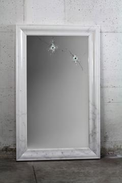 Barberini Gunnell Wall mirror white marble rectangular frame contemporary design made in Italy - 1448978