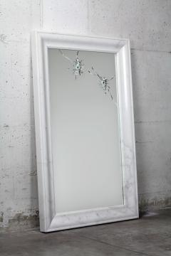 Barberini Gunnell Wall mirror white marble rectangular frame contemporary design made in Italy - 1448981