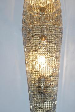 Barovier Toso 1960s Italian Crystal Murano Glass Pair of Diamond Shaped Sconces on Brass - 1254811