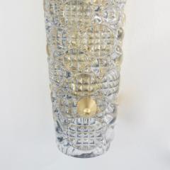 Barovier Toso 1960s Italian Crystal Murano Glass Pair of Diamond Shaped Sconces on Brass - 1254818
