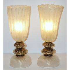 Barovier Toso 1970s Italian Vintage Barovier Toso Pair of White Black Gold Murano Glass Lamps - 1038444
