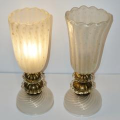 Barovier Toso 1970s Italian Vintage Barovier Toso Pair of White Black Gold Murano Glass Lamps - 1038445