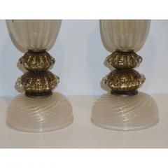 Barovier Toso 1970s Italian Vintage Barovier Toso Pair of White Black Gold Murano Glass Lamps - 1038446