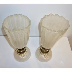 Barovier Toso 1970s Italian Vintage Barovier Toso Pair of White Black Gold Murano Glass Lamps - 1038451