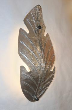 Barovier Toso 1980 Italian Vintage Nickel Pair of Tall Silver Color Murano Glass Leaf Sconces - 1123362