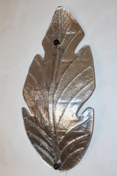 Barovier Toso 1980 Italian Vintage Nickel Pair of Tall Silver Color Murano Glass Leaf Sconces - 1123369