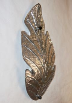 Barovier Toso 1980 Italian Vintage Nickel Pair of Tall Silver Color Murano Glass Leaf Sconces - 1123372