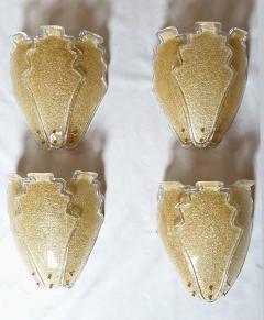 Barovier Toso 2 pairs of large gold Granilia Murano glass Mid Century Modern sconces Barovier - 1224627