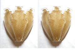 Barovier Toso 2 pairs of large gold Granilia Murano glass Mid Century Modern sconces Barovier - 1224634