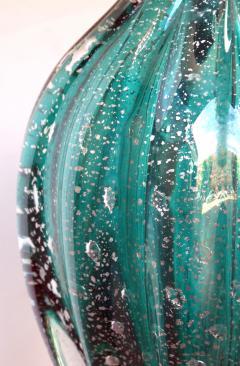 Barovier Toso A Murano Mid Century Teal Art Glass Silver Aventurine Lamp Barovier Toso - 276889