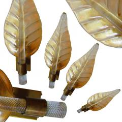 Barovier Toso A Rare Set of 8 Barovier and Toso Amber Glass and Bronze Leaf Form Wall Lights - 1152323
